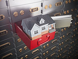 House in opened safe deposit box. Home safety or investment and