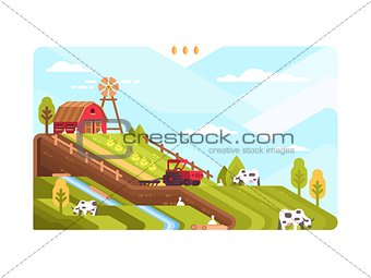 Agricultural farm with fields and livestock