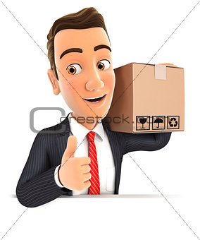 3d businessman carrying package with thumb up