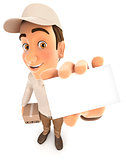3d delivery man holding company card