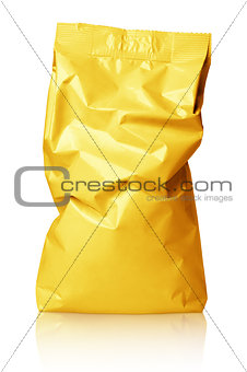 Crumpled blank golden foil bag package isolated on white
