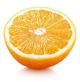 half of orange citrus fruit isolated on white