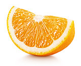 wedge of orange citrus fruit isolated on white