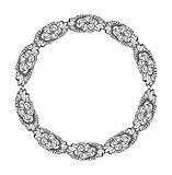 Mandala. Ethnic decorative round element. Hand drawn lacy patterned frame.