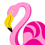 Vector portrait of a pink flamingo