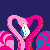 Vector in love with a flamingo