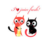 Vector in love funny kittens