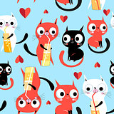 Seamless bright funny pattern enamored kittens
