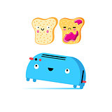 Funny vector cartoon toast and toaster