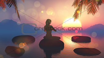 3D female in yoga pose against sunset sky