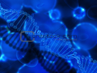 3D medical background with clear DNA strands