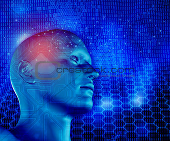 3D modern technology background with male head, connecting lines
