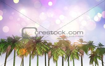 3D palm tree landscape with retro effect