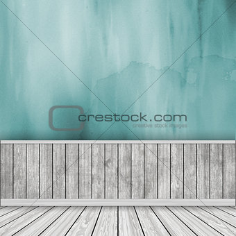 3D room interior with watercolor wall and wooden floor