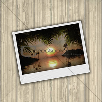 3D vintage photograph on wooden background