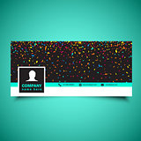 Social media timeline cover with confetti design
