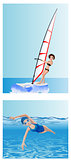 Windsurfer and swimmer