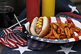 Fourth of July Hotdogs and Fries