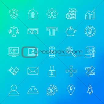Cryptocurrency Line Icons