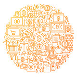 Bitcoin Line Icon Circle Design