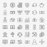 Bitcoin Line Icons Set