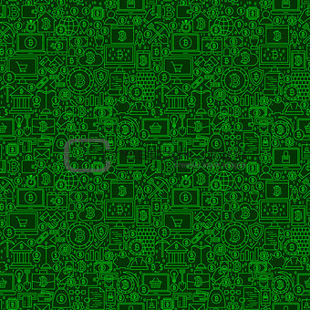 Green Line Bitcoin Seamless Pattern