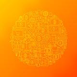 Line Bitcoin Icons Circle