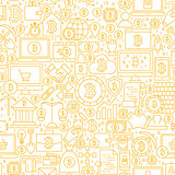 Line Bitcoin White Seamless Pattern