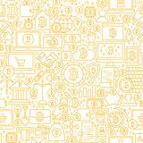 Line Bitcoin White Seamless Pattern