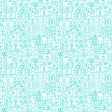 Line Cryptocurrency White Seamless Pattern