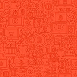 Red Line Bitcoin Seamless Pattern
