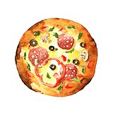Pizza. Watercolor hand-drawn illustration