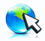 Glossy earth map globe