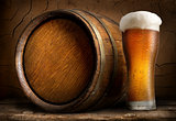 Beer in cask and glass