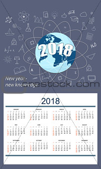 Business english calendar for wall year 2018