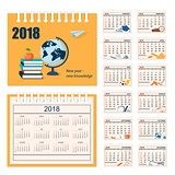 Full calendar for wall or desk year 2018