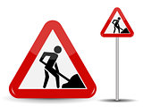 Road sign Warning Road works. In the Red Triangle a man with shovel in his hands. Vector Illustration.