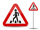 Road sign Warning. In Red Triangle man at pedestrian crossing. Vector Illustration.
