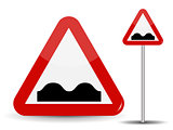Road sign Warning Uneven road. In Red Triangle image of bad cover with pits. Vector Illustration.