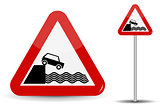 Road sign Warning Departure to embankment. In Red Triangle, the coast, water and car are schematically depicted. Vector Illustration.
