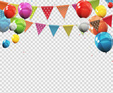 Group of Colour Glossy Helium Balloons with Blank Page Isolated on Transparent Background. Vector Illustration