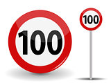 Round Red Road Sign Speed limit 100 kilometers per hour. Vector Illustration.