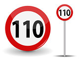 Round Red Road Sign Speed limit 110 kilometers per hour. Vector Illustration.