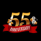 Golden 55 Years Anniversary Template with Red Ribbon Vector Illu