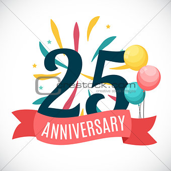 Anniversary 25 Years Template with Ribbon Vector Illustration
