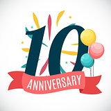 Anniversary 10 Years Template with Ribbon Vector Illustration