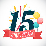 Anniversary 15 Years Template with Ribbon Vector Illustration