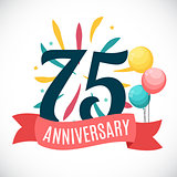 Anniversary 75 Years Template with Ribbon Vector Illustration