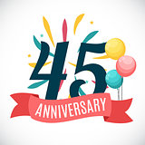 Anniversary 45 Years Template with Ribbon Vector Illustration