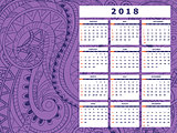 dark violet tangle zen pattern calendar year 2018